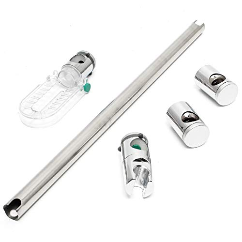 HeroStore New Shower Kit Adjustable Riser Slide Rail Bar Kit Hose Bracket Round Head Chrome Aluminium and Plastic Bathroom Shower Tools