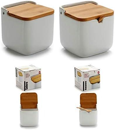 D,casa Azucarero o salero de Bambu con cucharita para Cocina