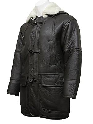ABSY Mens Real Shearling Sheepskin Leather Duffle Coat Brown Warm Winter