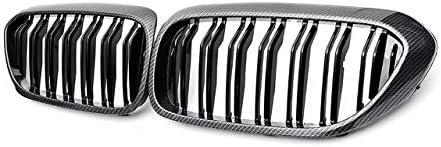 YLEI 2PCSフロント腎臓グリルBMW新5Series G30 G38のための2017年から2018年グリルマットグロスブラックフロントバンパーグリルスラット車フロントグリル (Color : Carbon Black 2 Line)