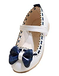 EOZY Toddler Girl Bow Mary Jane PU Leather Velcro Strap Flat Princess Shoes