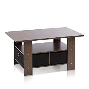 Furinno Coffee Table with Bins, Dark Brown/Black