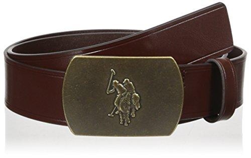 Men's Belt with Plaque Slider Buckle -