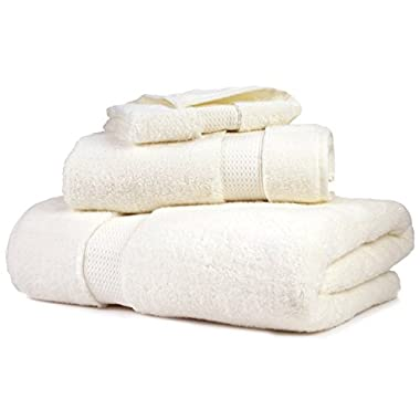 Ultra-Soft Plush Luxury 100% Natural Micro-Cotton 3 Piece Towel Set. Superior Absorbency. Color Lock Technology Keep Colors Intact.(30 Day Money Back Guarantee) (Towel Set - Set of 3, Beige )