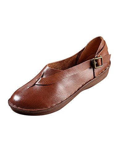 Youlee Women's Summer Round Toe Buckle Leather Shoes OYqmx3WUQB