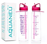 AQUANEÜ 30oz Inspirational Fitness Workout Sports Water Bottle with Time Marker | Measurements | Goal Marked Times Bottle for Measuring Your H2O Intake, BPA Free Non-Toxic Tritan (Think Pink Fuchsia)