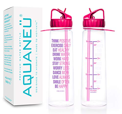 AQUANEÜ 30oz Inspirational Fitness Workout Sports Water Bottle with Time Marker | Measurements | Goal Marked Times Bottle for Measuring Your H2O Intake, BPA Free Non-Toxic Tritan (Think Pink -