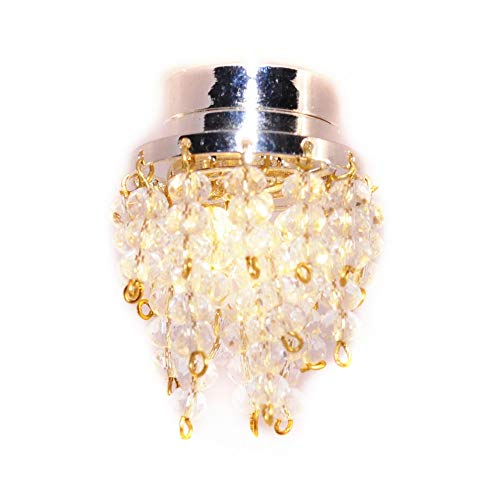 Melody Jane Dollhouse Chrome Ceiling Light Chrystal Droplet Shade LED Battery Lighting
