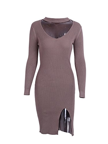 Sweater Brown Autumn Midi Women's Simplee Bodycon Apparel Dress Choker Dress Winter 8xAZ7w