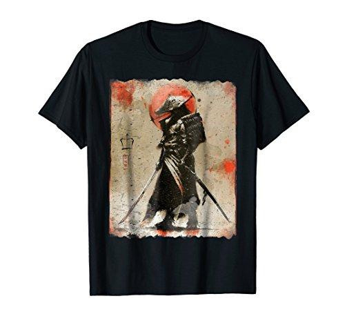 Samurai T-Shirt Japanese Retro Art Print T-Shirt Bushido Tee