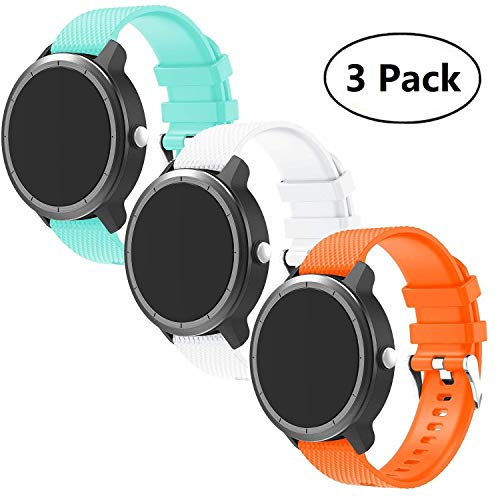 BIGTANG Vivoactive 3 Watch Band, 20mm Quick Release Soft Silicone Replacement Fitness Bands for Garmin Vivoactive 3/ Garmin Forerunner 645 Music/Samsung Galaxy 42mm Smart Watch - 3 Pack