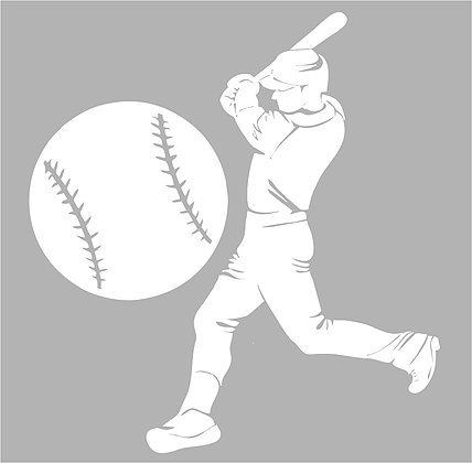 Large Silhouette Vinyl Baseball Wall Decals (Player and Ball) (White) (Baseball Player Wall Decal)