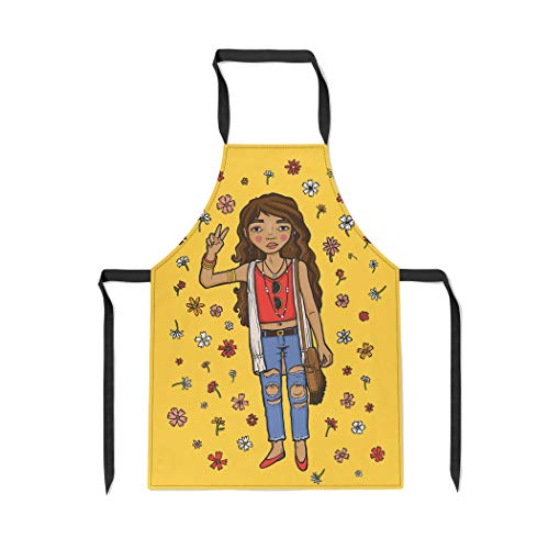 Pinbeam Apron Young Teen Dressed in Festival Bohemian Surrounded with Adjustable Neck for Cooking Baking Garden