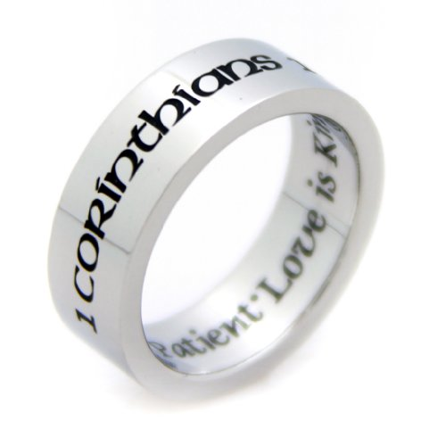 Corinthians Ring - Love Is Patient Ring - Religious Ring - Corinthians 13:4 - Bible Quote - Wedding Band - Commitment Ring - Promise Jewelry (Poesy Promise Rings)