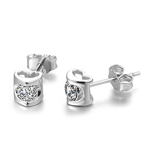 Barrel Of Monkeys Adult Costumes (ER-20155C1 Silver Simple Heart-Shaped Diamonds Women's Earring)