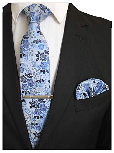 JEMYGINS Silk Teal Floral Necktie and Pocket Square, Hankerchief and Tie Bar Clip Sets for Men (8) (Floral Bar)