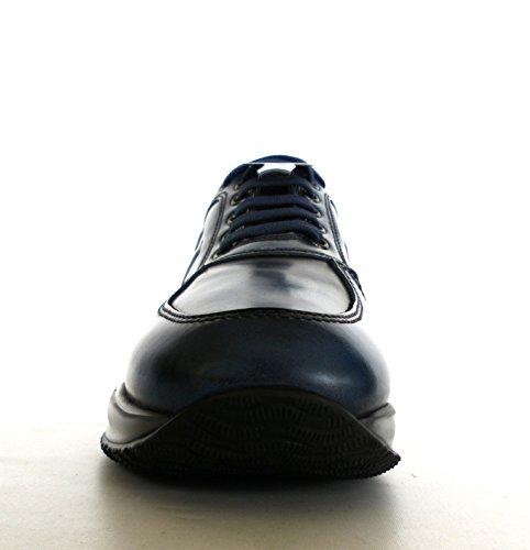 Hogan scarpe uomo interactive H rilievo modello HXM00N090426MAU407 blu persia pelle spazzolata
