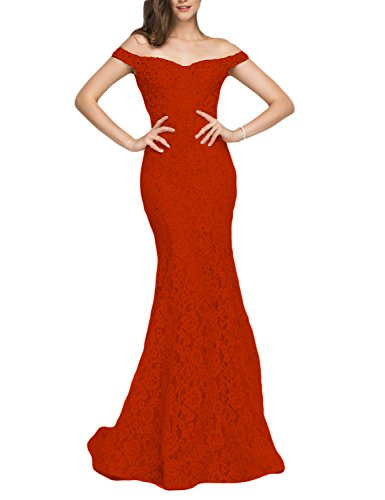 YSMei Women's Off Shoulder Beads Evening Celebrity Dress Long Mermaid Formal Gown Red 10 ()