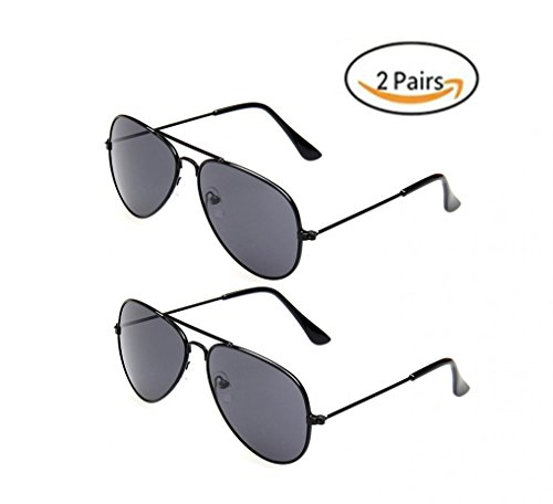 69860241b9 WODISON Classic Kids Aviator Sunglasses Bulk Reflective Metal Frame Children  Eyeglass 2 Pack JF Store