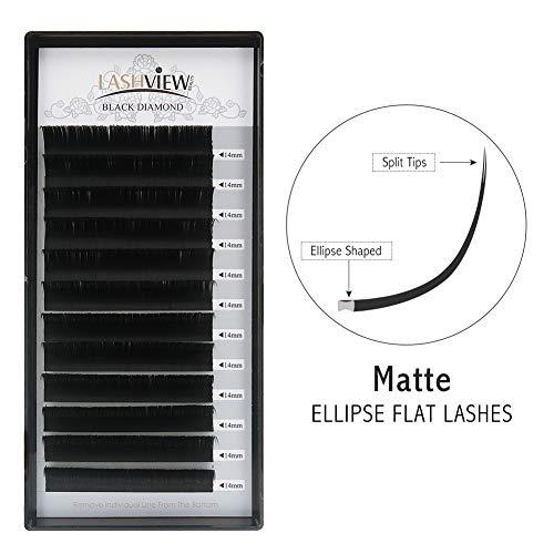 LASHVIEW Split Tips SUPER MATTE Flat Ellipse Mink Black Eyelash Extension Thickness 0.20mm D Curl Length 14mm Application-friendly Semi-permanent Individual Extremely Soft Lashes For Salon Use
