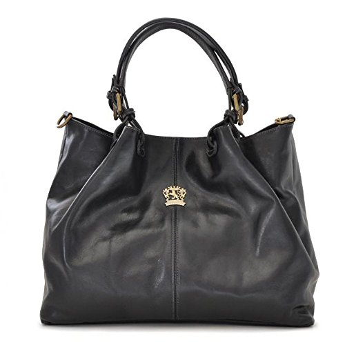 Hobo Aged Leather Bag Shoulder Handbag Pratesi Italian Black Bucket nI4wpx