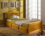 Solid Pine 3'0 Single Captain Cabin Bed with 3 Drawer Storage (Honey)