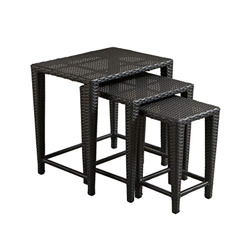 Mayall Patio Furniture 3 Piece Black Nested Outdoor Wicker Side Table Set ()