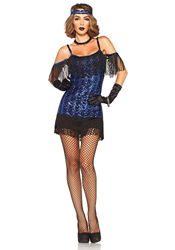 Leg Avenue Women's Gatsby Flapper Costume, Blue/Black, Medium (20s Flapper Dress Halloween Costumes)