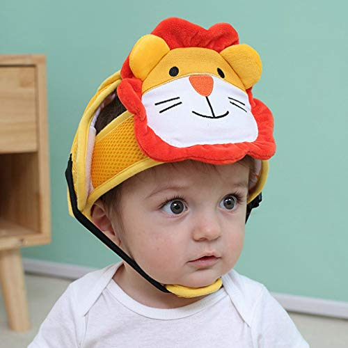 Binory Baby Safety Animal Shape Helmet Cotton Bumper,Toddlers Infants Protective Cap Gift Set for Children Crawling Or Walking(Lion)