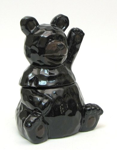 Teddy Ceramic Collectible (Cookie Jar Black Bear Ceramic Statue Kitchen Tabletop Candy Treat Stash Keeper Grizzly Figurine Food Decorative Holder Figure With Lid Canister)