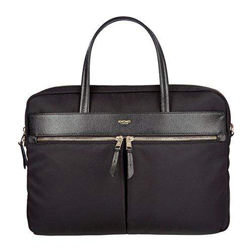 [Knomo Luggage Hanover 14 Slim Briefcase 10.2 X 14.2 X 1.6, Black, One Size] (Leather Nylon Briefcase)