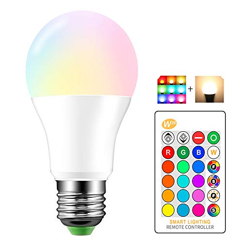 Lemonbest Dimmable 10watts RGBW LED Bulb Mood Light IR Remote Control 16 Color Changing Party Stage LED Lamp Lighting (10 Watt RGB+Warm White)