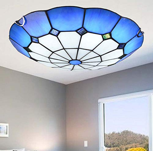 Simple Tiffany Style LED Ceiling Light in Hand-Made Blue Stained Glass Flush Mount LED Ceiling Lamps for Bedroom Lighting Fixture,LED Chip,12W/18W/24W,Whitelight,30cm