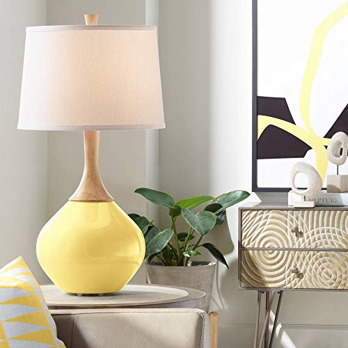 Wexler Modern Table Lamp Daffodil Yellow Glass Wood Neck Plain White Drum Shade for Living Room Family Bedroom Bedside Office - Color + Plus