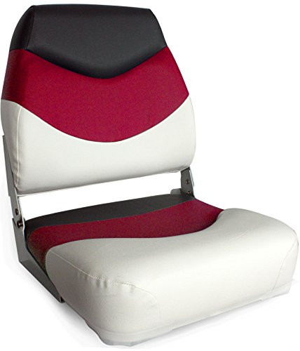 Leader Accessories Premium Folding Boat Seat White/Red/Charcoal (Pontoon Folding Boat Seats)