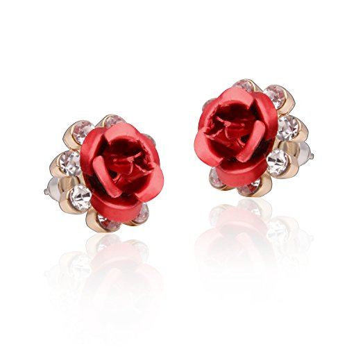 Carfeny Floral Red Rose Flower Earrings Handcrafted Hypoallergenic Cubic Zirconia Stud Earrings for Women Gift (Rose Earrings Red)