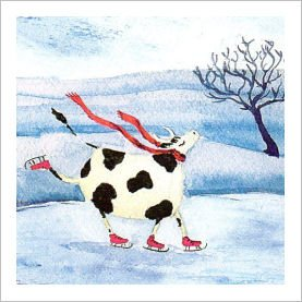 Dancing on Ice Cow Charity Christmas Cards Pack - 5 Cards - Charity ...