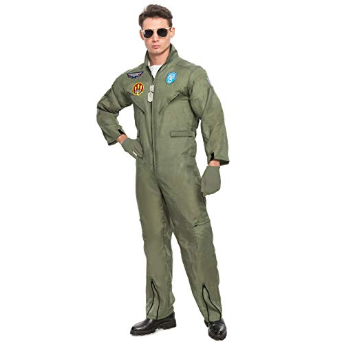 Spooktacular Creations Men's Flight Pilot Adult Costume with Accessory for Halloween Party (X-Large) Gray