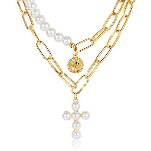 CHANBO Bohemian Layered Pearl Cross Gold Plate Coin Pearl Charm Pendant Necklace for Men Women Girls