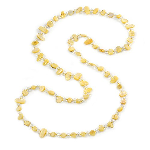 Avalaya Long Daffodil Yellow Shell/Transparent Glass Crystal Bead Necklace - 120cm L ()