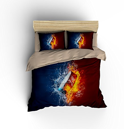 Splendid Fire Hockey Ball Cotton Microfiber 3pc 80''x90'' Bedding Quilt Duvet Cover Sets 2 Pillow Cases Full Size by DIY Duvetcover