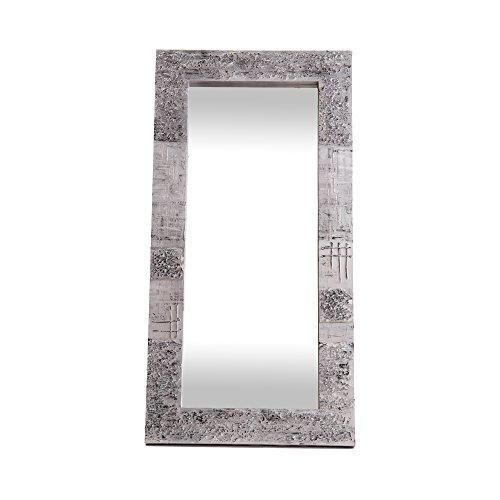 Lohoart L-1267-2 - Espejo sobre Lienzo Pintado Artesanal, Espejo Pared Color Plata, Medidas 120X60X10 cm