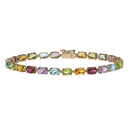 Oval-Cut Multi-Color Genuine Gemstone 10k Yellow Gold Tennis Bracelet 7.25