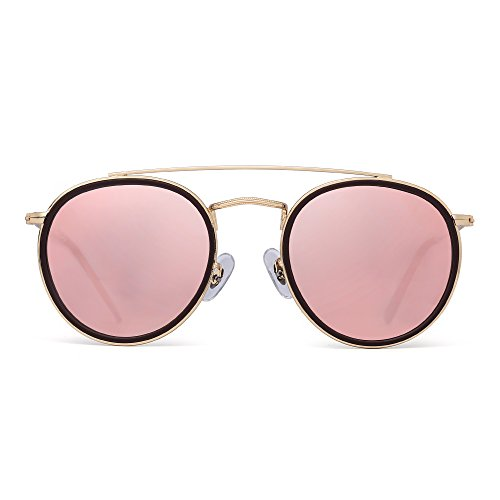JIM HALO Small Polarized Round Sunglasses for Women Vintage Double Bridge Frame (Gold Frame/Polarized Pink Lens) ()
