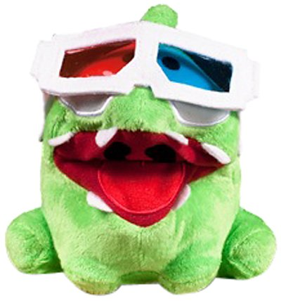 "Om Nom 3D Glasses Poseable Plush - Cut The Rope - 12cm 5"""