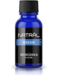 NATRÄL Breathe Blend, 100% Pure and Natural Essential Oil, Large 1 Ounce Bottle
