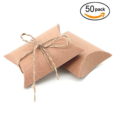 AWESON PARTY Vintage Kraft Paper Pillow Candy Box Thank You Treat Box Kit Rustic Gift Boxes with Twine for Wedding Favors Baby Shower Birthday Party Supplies, (Wedding Favor Supplies)