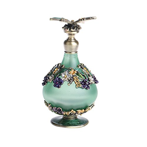 YUFENG Restoring Glass Perfume Bottle with Green Butterfly Empty Refillable (Perfume Bottle Green Glass)