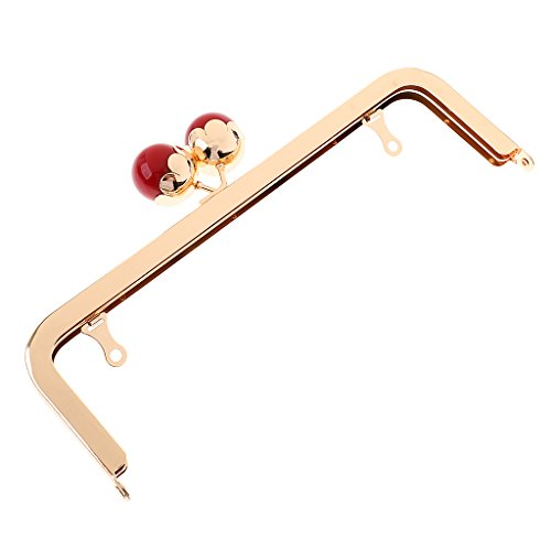 Dovewill 1x Pearl Kiss Clasp Metal Frame Sew in Handbag Evening Purse Handbag Holder - Red, as described by Dovewill
