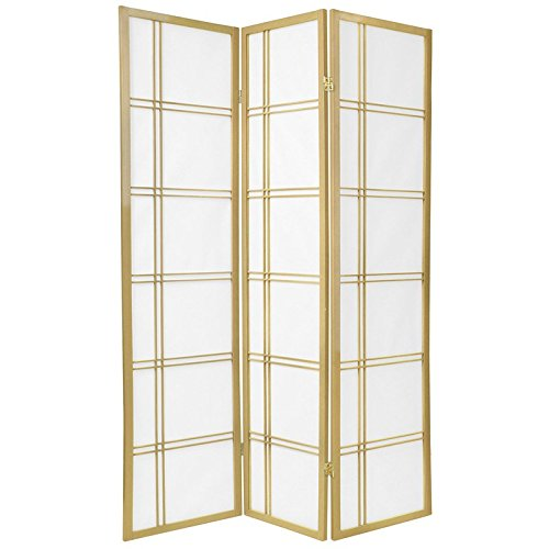 Oriental Furniture 6 ft. Tall Double Cross Shoji Screen - Special Edition - Gold - 3 Panels